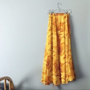 New York & Company Yellow Maxi Chiffon Wrap Skirt